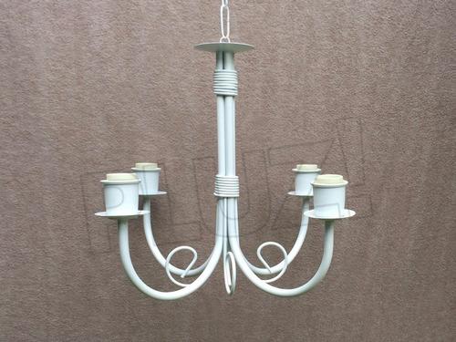 lámpara colgante araña chica 4 brazos - hierro óxido blanco