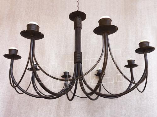 lámpara colgante araña grande 8 luces - hierro óxido