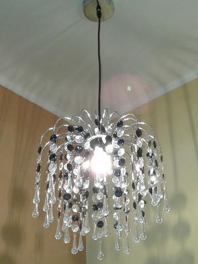 lmpara colgante araa techo cristal cairel negro microcentr - Lamparas De Techo De Cristal