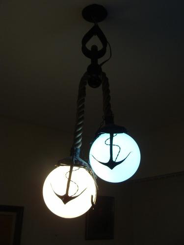 lampara colgante artesanal estilo marinero- impecable!!!