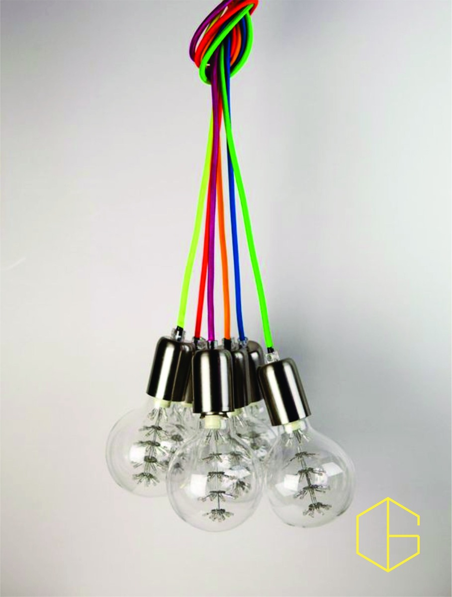 lampara colgante cable tela soga foco diseo retro galo