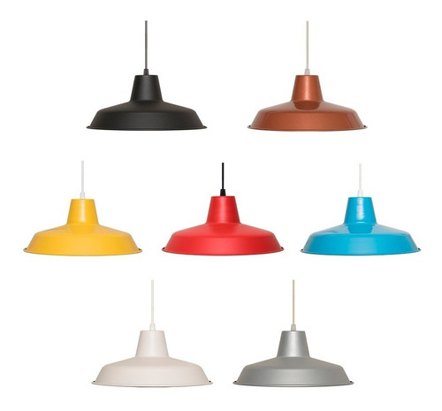 lampara colgante campana galponera varios colores apto led