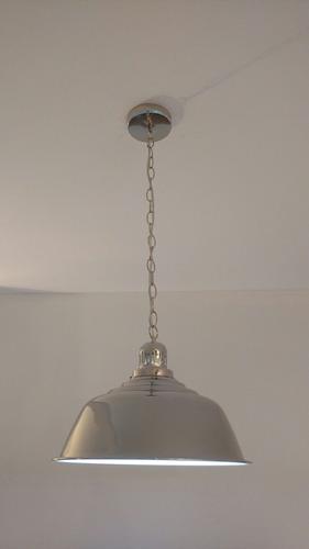 lampara colgante cocina niquelada cadena estilo industrial
