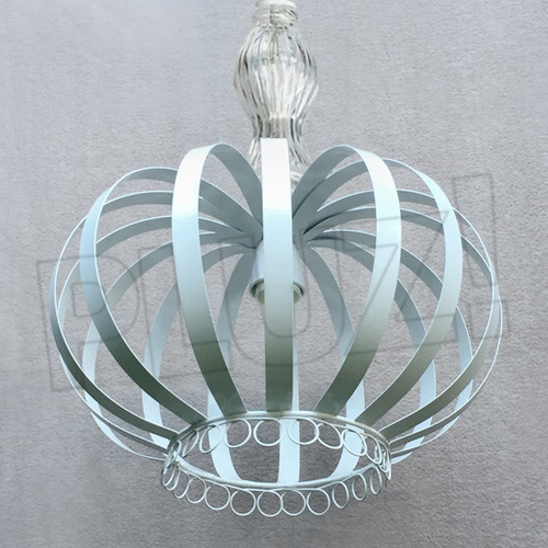 lámpara colgante corona c/vidrio grande -chapa hierro blanca