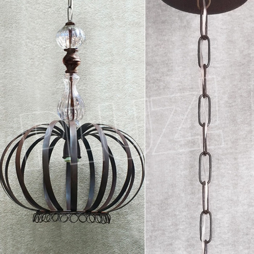 lámpara colgante corona c/vidrio grande - chapa hierro óxido