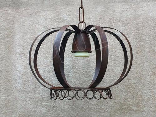 lámpara colgante corona jaula chica - chapa hierro óxido