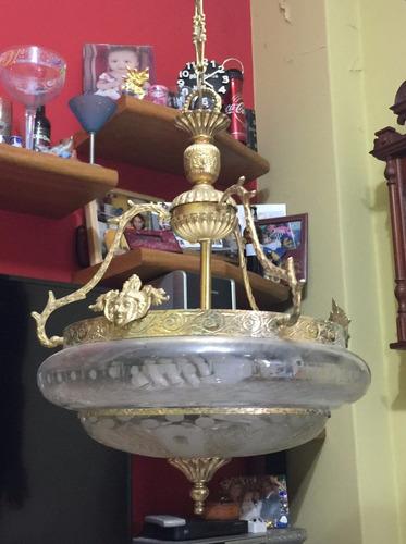 lámpara colgante cristal con baño de oro, exquisita!!!