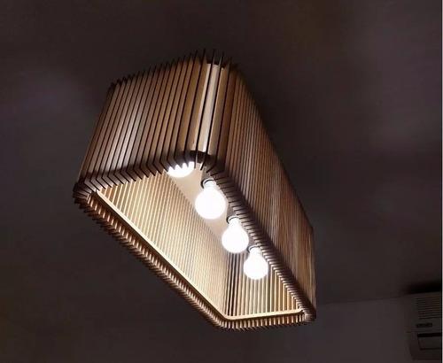 Lampara Colgante Cuatro Luces Diseño Mdf Cube65 - $ 1.550,00 en ...