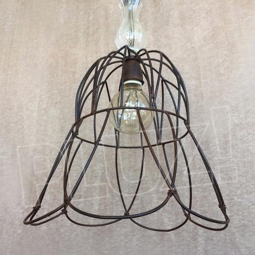 lámpara colgante cuello con vidrio - jaula hierro óxido