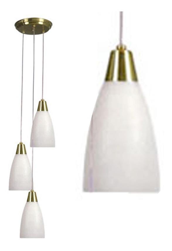 En Desnivel Colgante 3 Luces Vidrio Lampara De Con Tulipa TOXPwkZiu