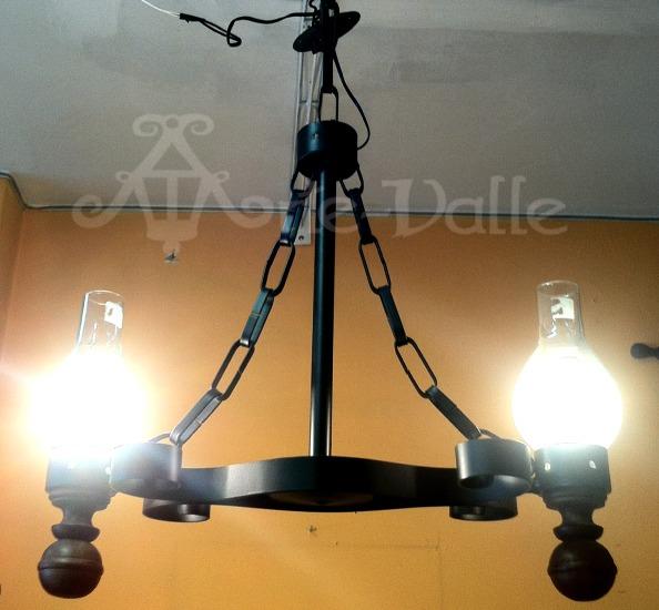 L mpara colgante de hierro forjado de 2 luces u s 149 00 - Lamparas industriales colgantes ...