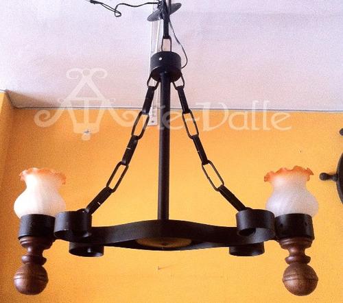 lámpara colgante de hierro forjado de 2 luces