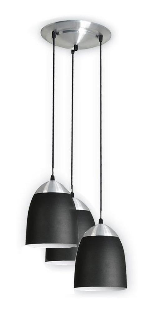 De 3 Luces Lampara Negro Moderno Interior Colgante K3TlFcJ1