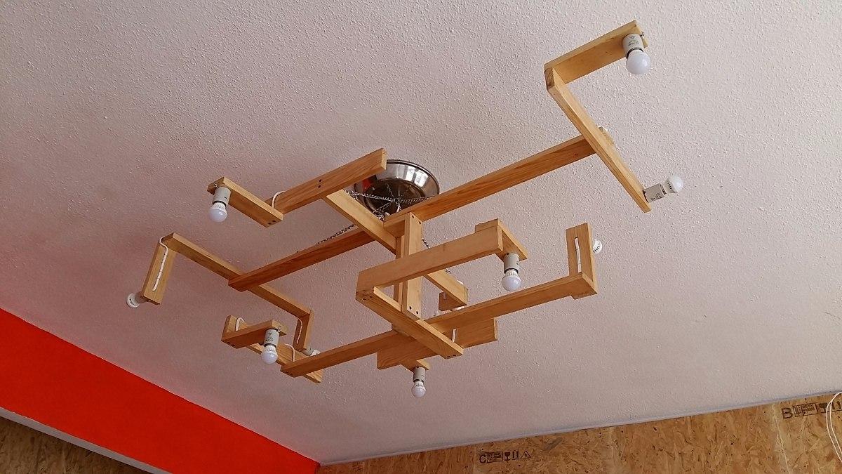 Lampara colgante de madera 3 en mercado libre - Lampara de techo de madera ...