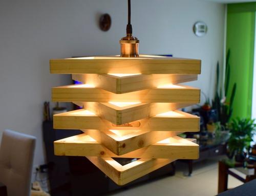 lámpara colgante de madera  - estrella de david