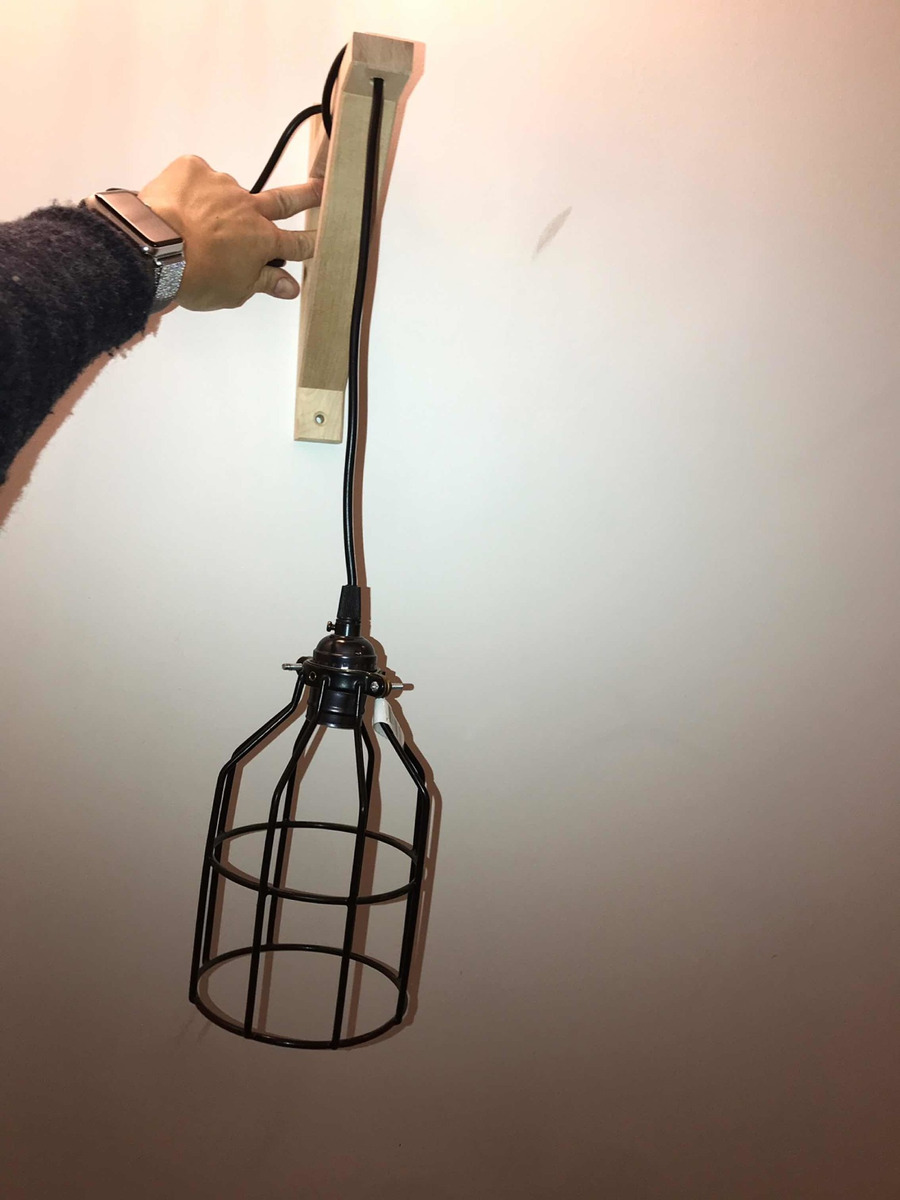 Lámpara De Canchera Pared Madera Y Hierro Colgante 3R4L5Aj