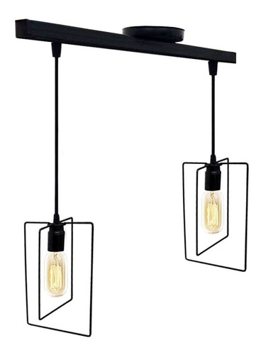 lampara colgante de techo 2 luces hierro veleta