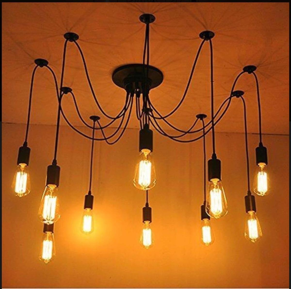 De 10 Focos Industrial Colgante Techo Vintage Lámpara Edison TOikXuZP