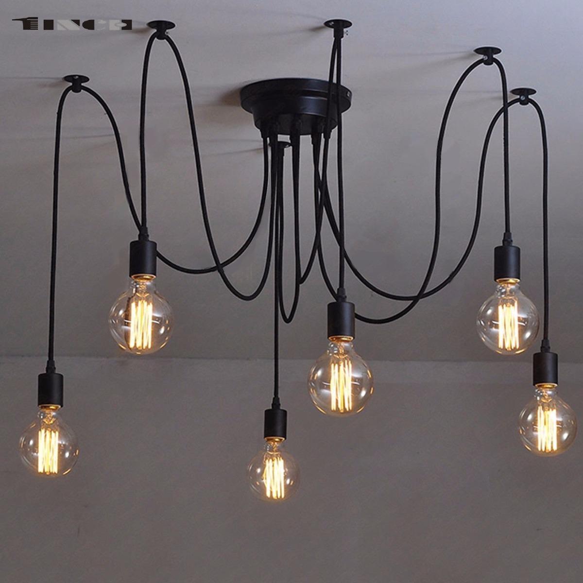 6 Colgante Industrial Edison Techo Lámpara De Focos Vintage 1FKclJ