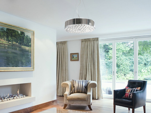 lámpara colgante decorativa acero cromo e27 60w 5 luces