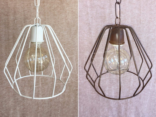 lámpara colgante diamante mini- jaula hierro óxido