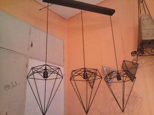lámpara colgante diamantes hierro tres .