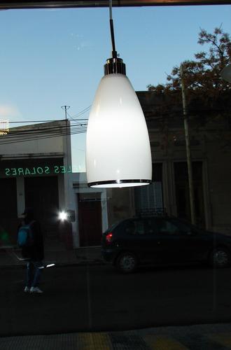 lámpara colgante difusor blanco acero decoración interior