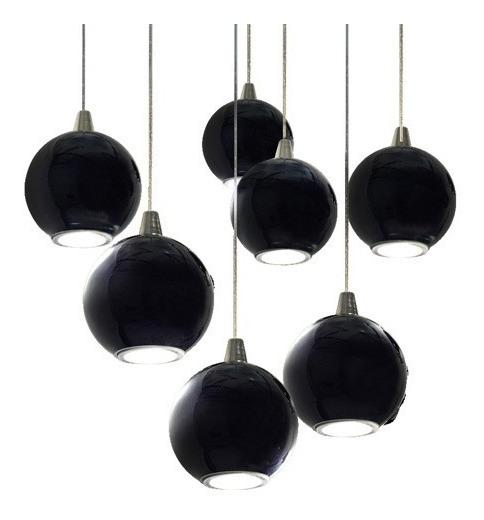Con Diseño Colgante 7 Globos De Lampara Led Cristal Negro wOPNn0Zk8X