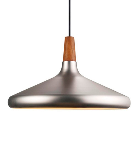 lampara colgante escandinava metal / madera 39cms e27premium