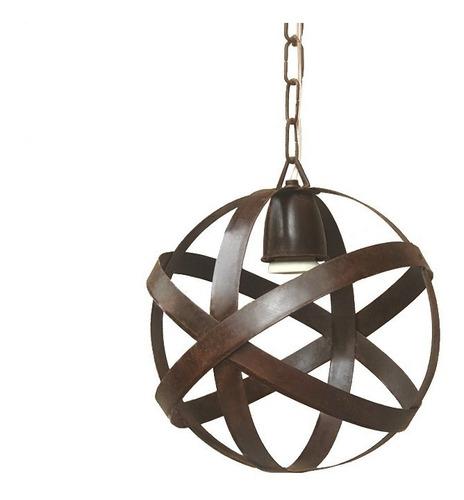 lámpara colgante esfera chica - jaula chapa hierro óxido