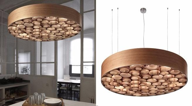 lampara colgante espirales de madera diseo exclusivo