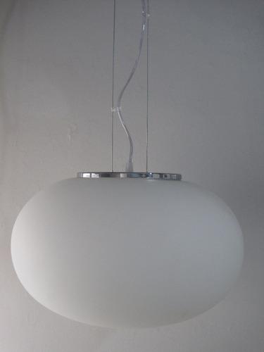 lampara colgante globo chato vidrio 40 diam. linea cromada