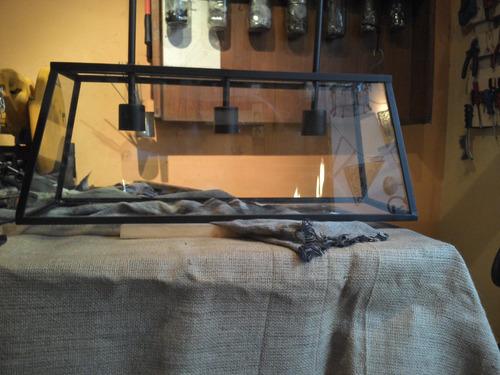 lampara colgante hierro y vidrio.