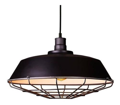 lampara colgante kal negro campana reja estilo industrial