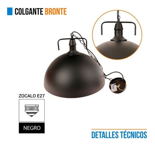lampara colgante leuk bronte metal negro media esfera e27