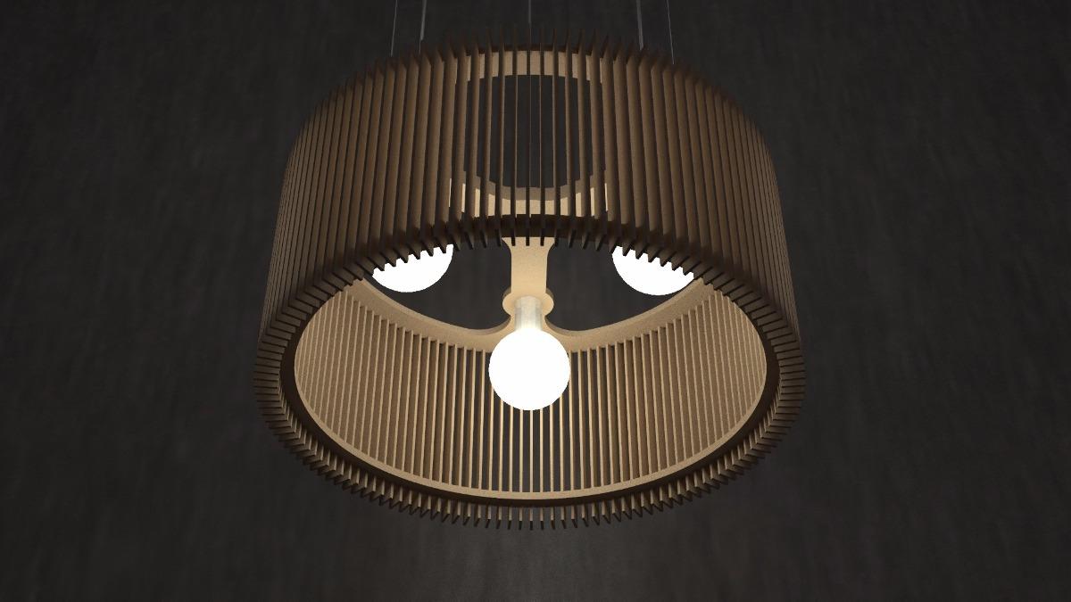 lampara colgante madera diseo mdf mod recta luminica