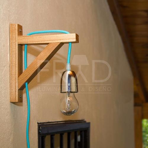 lámpara colgante ménsula de madera con cable textil colores