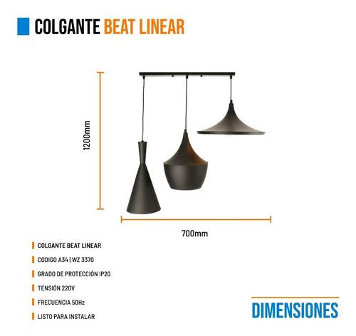 lampara colgante minimal beat linear wide fat tall negro