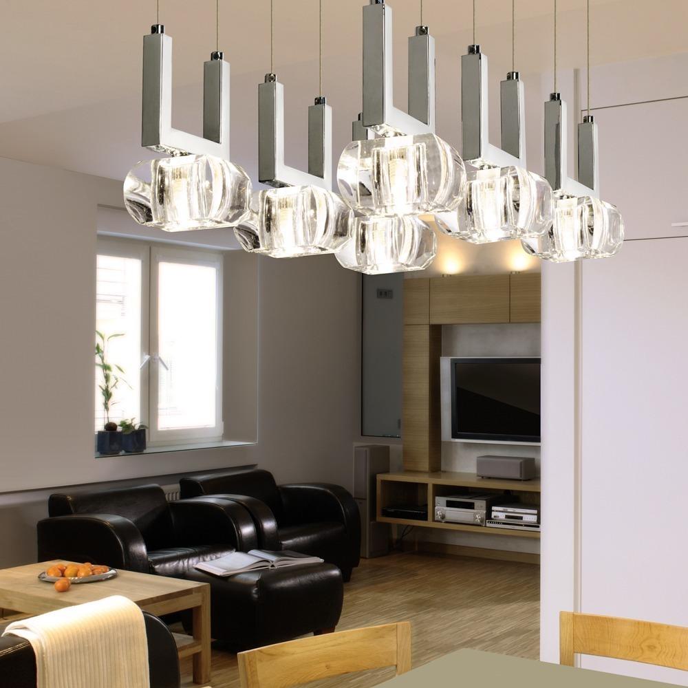 Lampara Colgante Moderna Living Comedor Cristal 6 Luces Dab