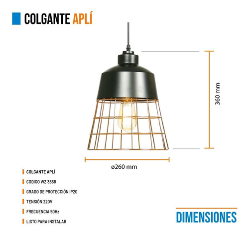 lampara colgante moderno industrial leuk aplí jaula cobre ff