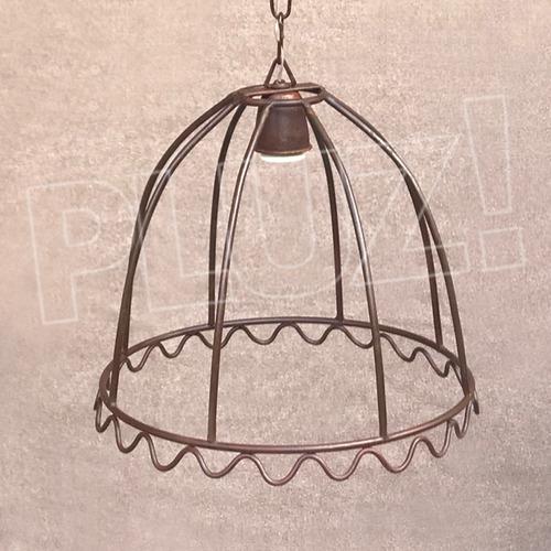 lámpara colgante pantalla mediana - jaula hierro óxido