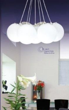 Lampara Colgante 3 Luces Globo Cristal Para Comedor Sala Tvf