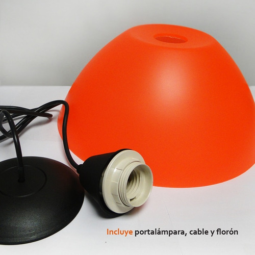 lampara colgante pvc 27cm varios colores apta led
