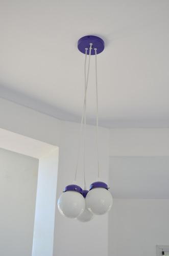 lampara colgante racimo 3 esferas 10cm varios colores