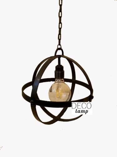 lampara colgante redonda de hierro diametro 28 cm