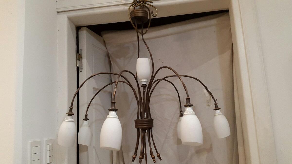 Lampara colgante de techo imitacion antigua 8 luces 1 - Lamparas antiguas de techo ...
