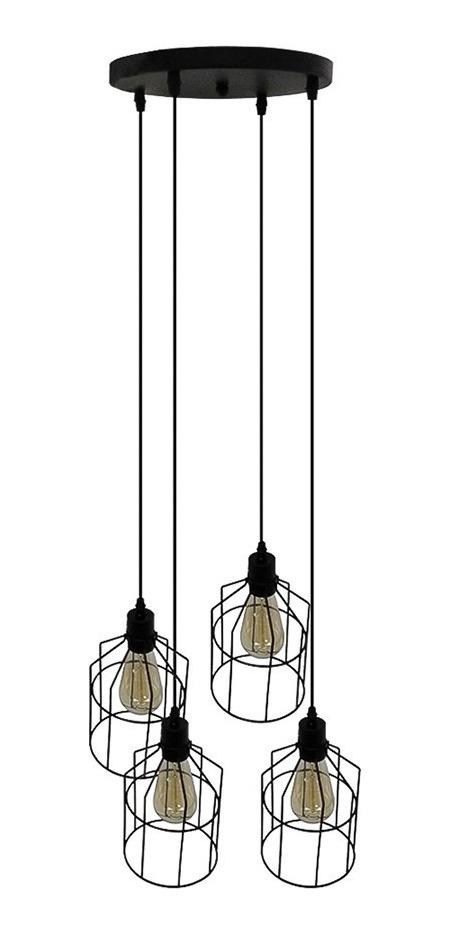 Lámpara Acero Colgante Vintage 4 E27 Negro Luces Techo 60w OXnwPN08k