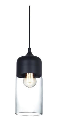 lampara colgante vidrio neró metal cilindro elegante negro