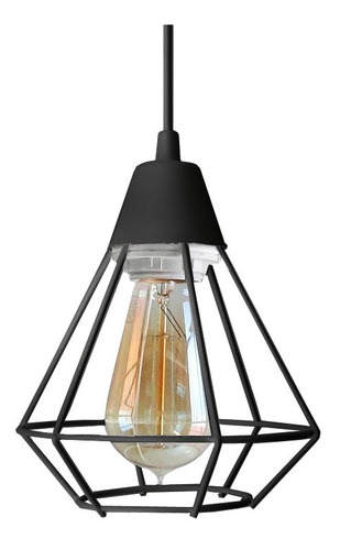 lampara colgante vintage 1 luz jaula diamante 15cm ferrolux