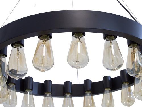 lámpara colgante vintage 18 luces acero & madera